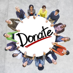 Diverse People Holding Hands Donate Concept