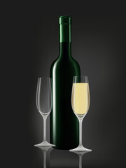 Wine bottle and white wine glass on black
