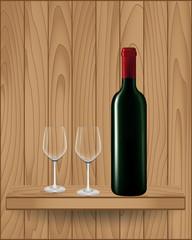 Wine bottle on wood shelf