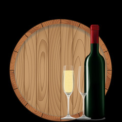 Wine bottle with glass and barrel on black