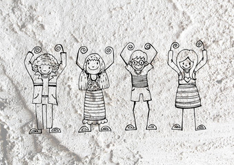 cartoon teenagers on Cement wall Background texture
