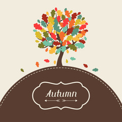 Background of stylized autumn tree for greeting card.
