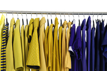 Colorful clothing autumn/winter on a rack
