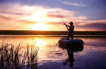 Spoed Fotobehang Vissen Fisherman