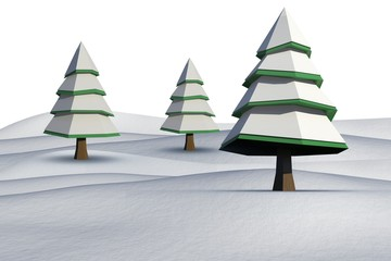 Fir trees on snowy landscape