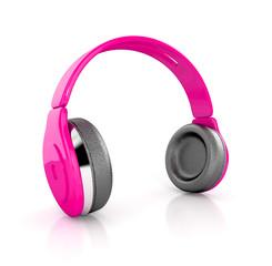 pink modern headphones. 3d illustration isolated
