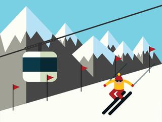 Skier slides from the mountain vector illustration