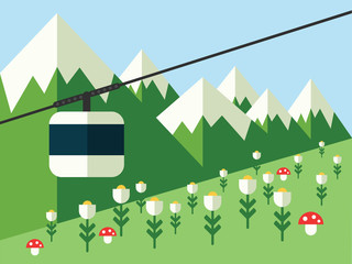 Mountain landscape with cableway, vector