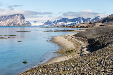 Coast beach in Spitsbergen, Arctic