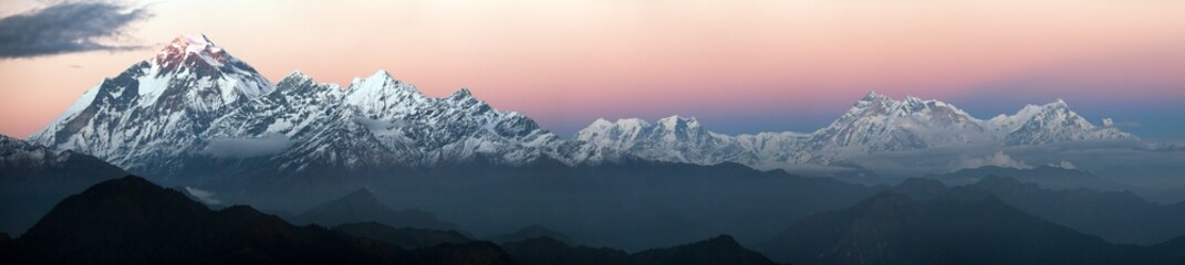 Foto auf Acrylglas Nepal Evening panoramic view of Dhaulagiri and Annapurna