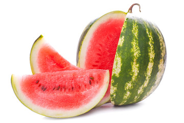 Sliced ripe watermelon isolated on white