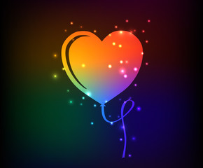 Heart balloon symbol,rainbow vector