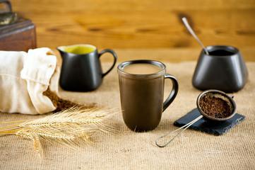 Roasted grain beverage coffee with milk