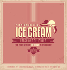 Vintage ice cream promotional vector poster