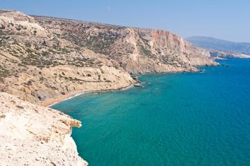 Libyan sea and the coast near Matala beach. Crete, Greece.