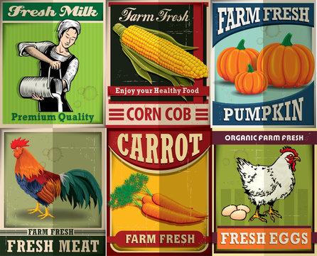 Vintage farm fresh poster set design
