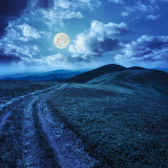 path on the mountain top at night