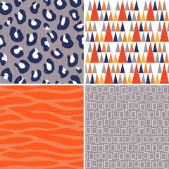 seamless vector tribal patterns in orange gray and navy
