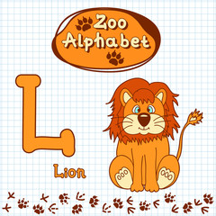Colorful children's alphabet with animals, lion