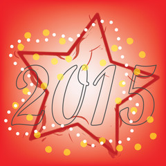abstract 2015 Text with red star on red background