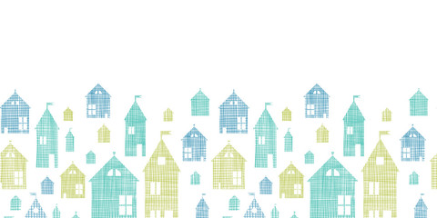 Houses blue green textile texture horizontal seamless pattern