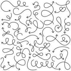 Vector Collection of Doodled Squiggly Arrows