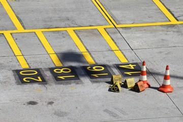 Haltepunkte für Flugzeuge am Gate