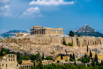 Canvas Prints Athens l'acropole a Athènes vue depuis la colline de filopappou