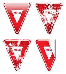 Decorative Red Yield Signs