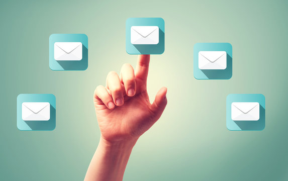 Email icons with hand