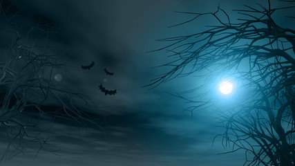 Halloween background with spooky trees