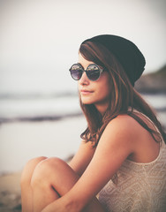 Portrait of Trendy Stylish Hipster Woman