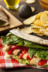 Healthy Grilled Chicken Pesto Flatbread