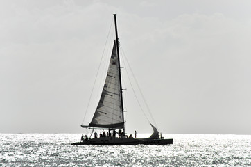 Beautiful yacht in the open sea on a sunny day