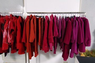 clothes lined up in store