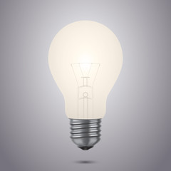 Realistic shining light bulb