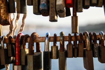 padlocks in a modern bridge of sliema