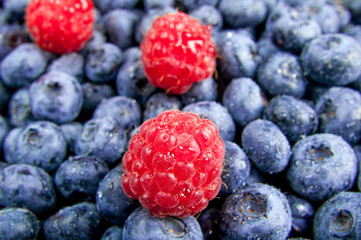 Fresh blueberries and raspberries