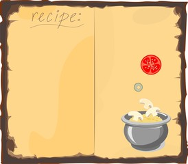 Blank recipe book and ingredients