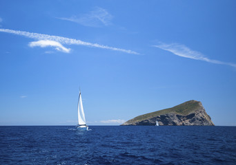 Lonely romantic sailboat at sea, yacht cruise, luxury vacation.