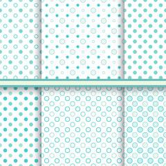 Set of blue soft polka dot seamless patterns - vector texture