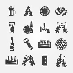 Beer icons set - vector alcohol symbols
