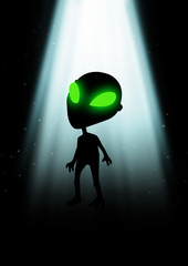 Illustration of an alien with glowing green eyes