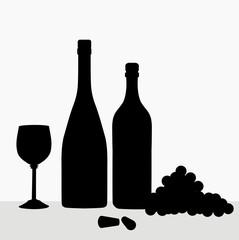 Wine Bottles & Composition- vector