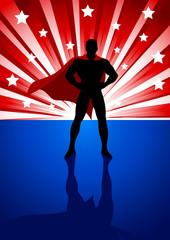 A superhero standing in front of light burst