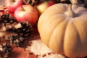 Autumn table, pumpkin, apples and cones on a wooden surface