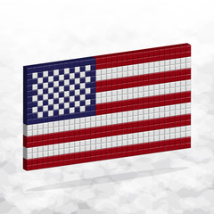 Flag USA. 3D Pixel Art.