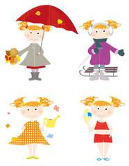 child , 4 seasons - vector illustration