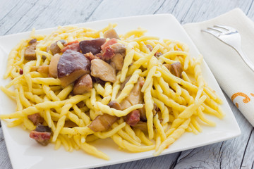 Trofie pasta with mushrooms from Italy