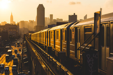 Photo Blinds New York City Subway Train in New York at Sunset